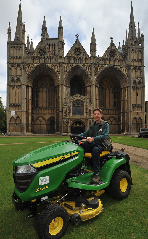 A new John Deere lawn tractor for Peterborough Cathedral