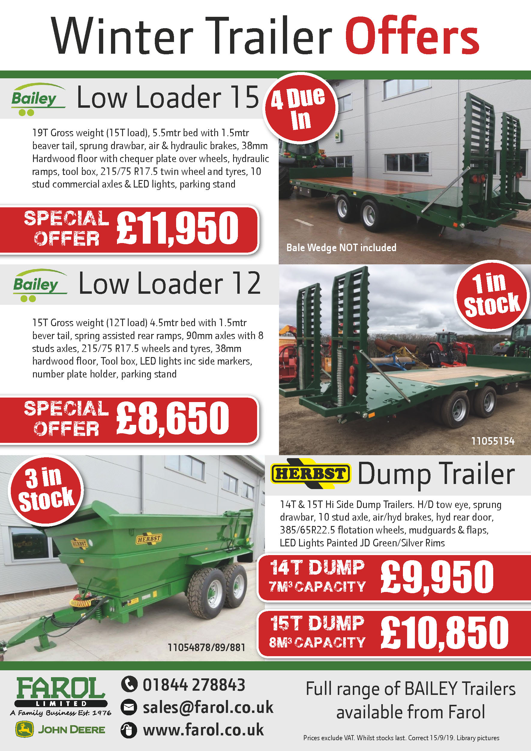 Bailey Low Loader/Dump Trailer Offers
