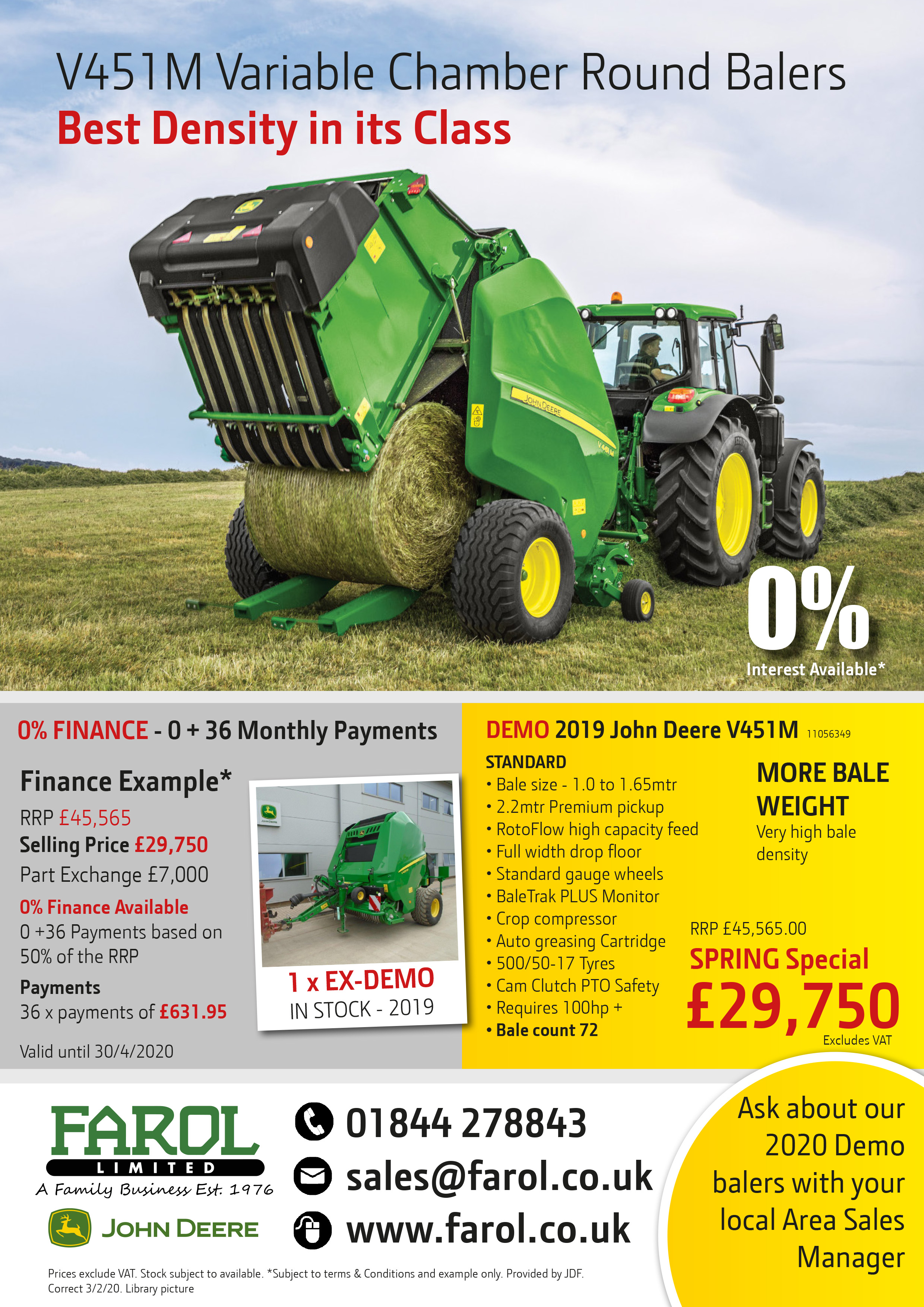 John Deere V451M Baler Offer
